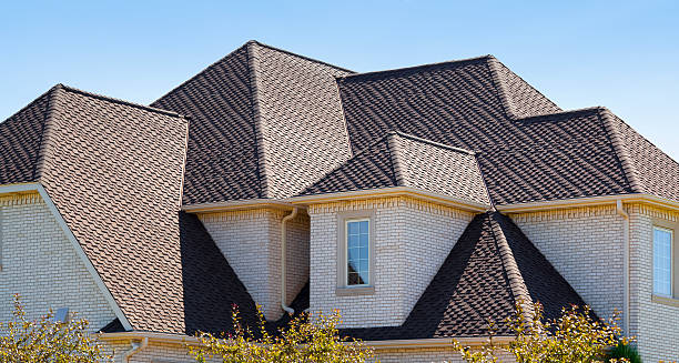 New Dimensional Asphalt Shingle Complex Roof stock photo