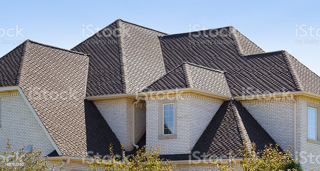 New Dimensional Asphalt Shingle Complex Roof stock photo