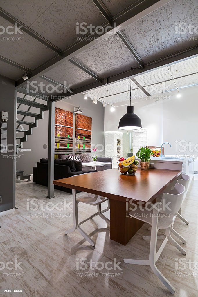 New dining area with raw look stock photo