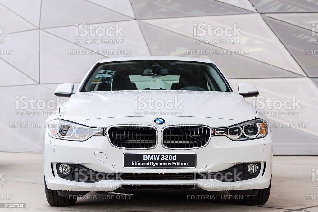 New disel engine series of inexpensive BMW 320d sedan stock photo