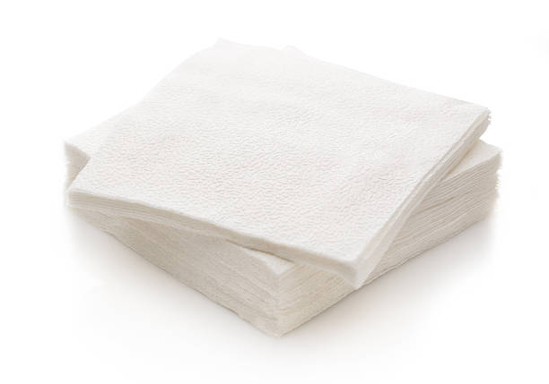 New disposable paper table napkins stock photo