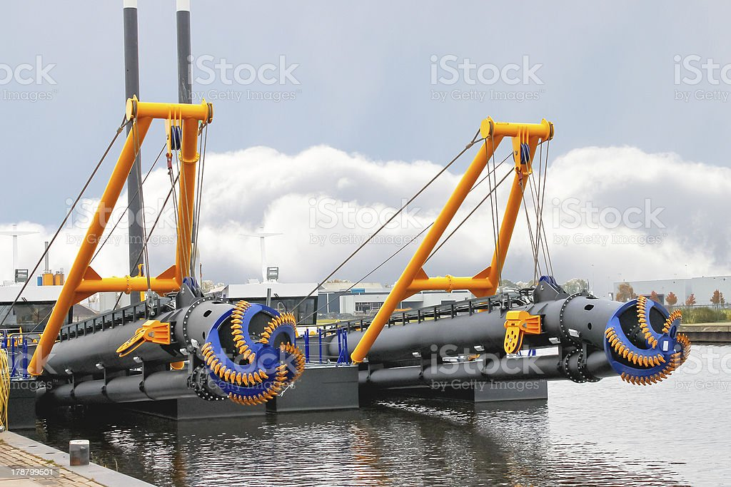 New dredge ship docked in a Dutch shipyard stock photo