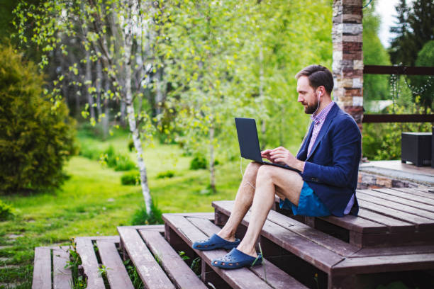 New dress code for online business meetings during quarantine stock photo