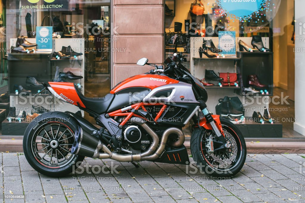 New Ducati Diavel motorcycle parked in city stock photo