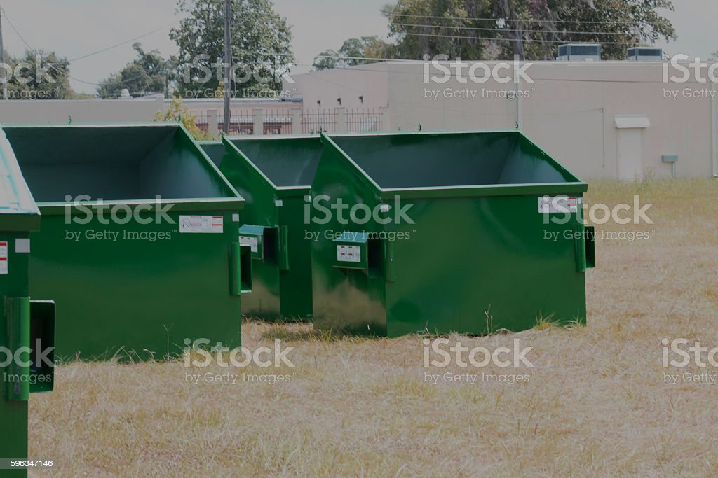 New Dumpsters Waiting for Lids royalty-free stock photo