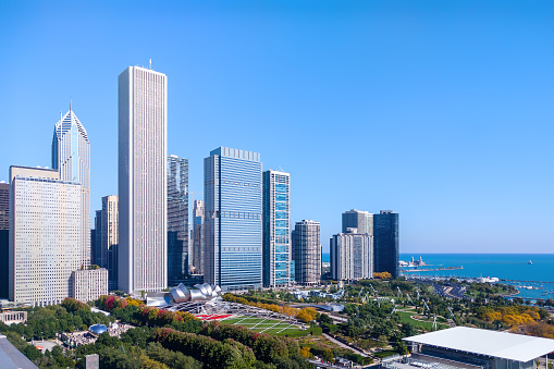 New Eastside cityscape with view of Lake Michigan, public parks and attractions. Chicago, USA.