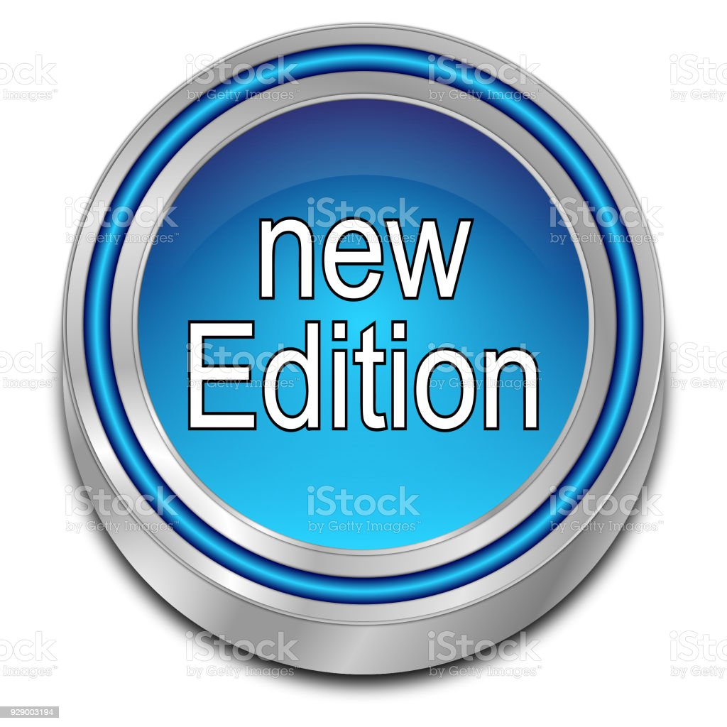 New Edition Button - 3D render stock photo