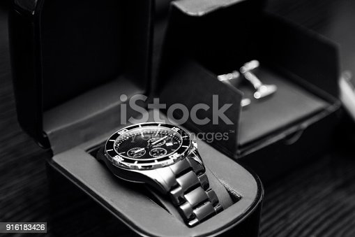 istock new elegant stainless steel silver men's classic watches and cufflinks 916183426