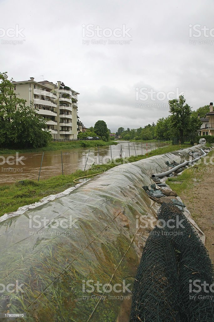 New emergency dikes to stem the flood of river Bacchiglione stock photo