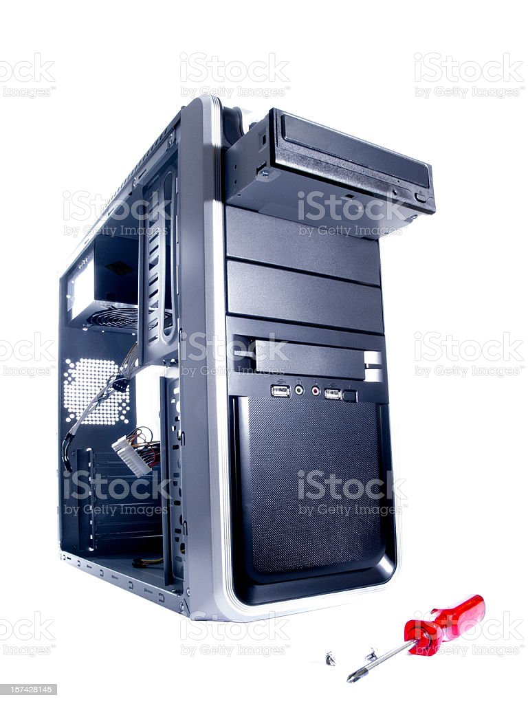 new empty computer case and screw driver isolated stock photo