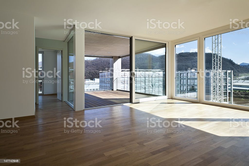 New, empty, contemporary-style apartment royalty-free stock photo