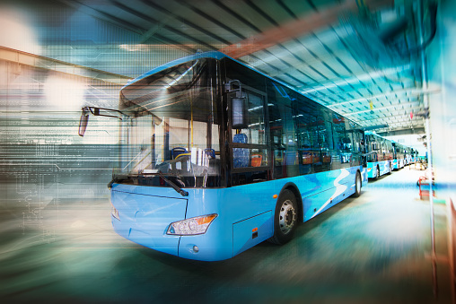 New energy electric bus arranged in the workshop