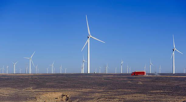new energy source of wind power windmills stock photo