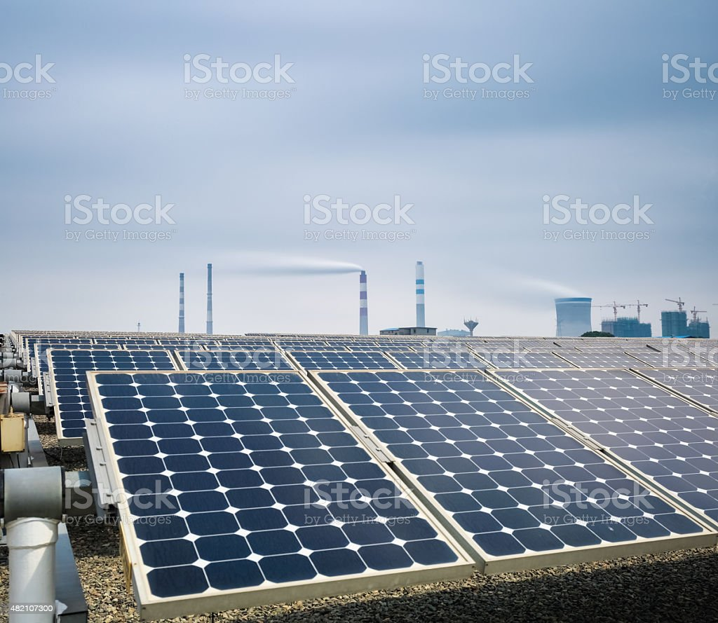 new energy with thermal power plant stock photo