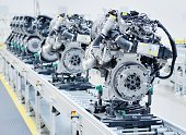 New manufactured engines on assembly line in a factory.
