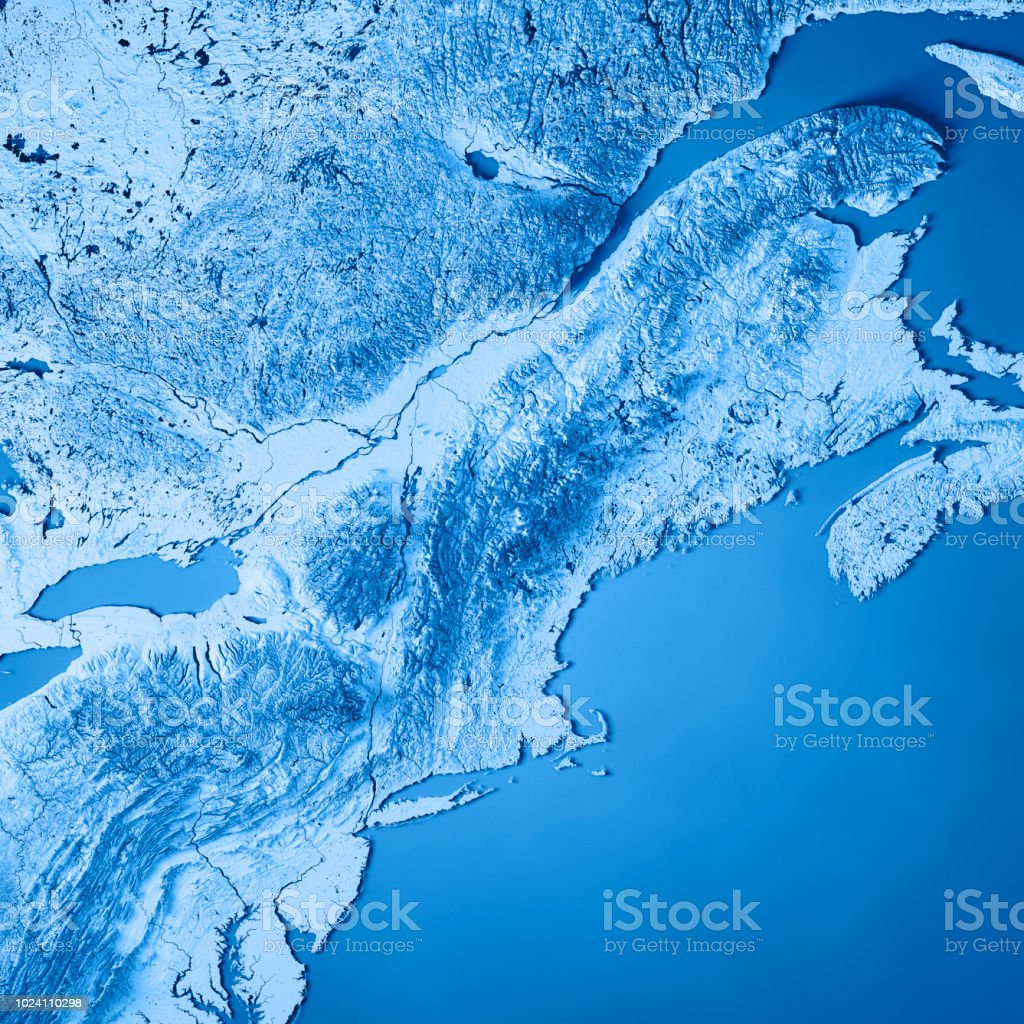 Topographic Map Of New England.New England 3d Render Topographic Map Blue Stock Photo More