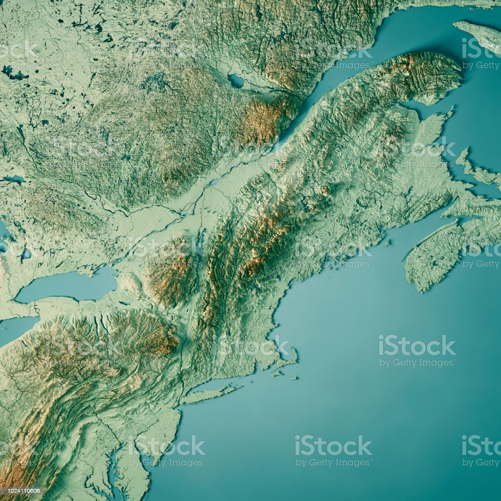 Topographic Map Of New England.New England 3d Render Topographic Map Color Stock Photo More