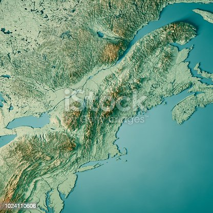 171057063 istock photo New England 3D Render Topographic Map Color 1024110606