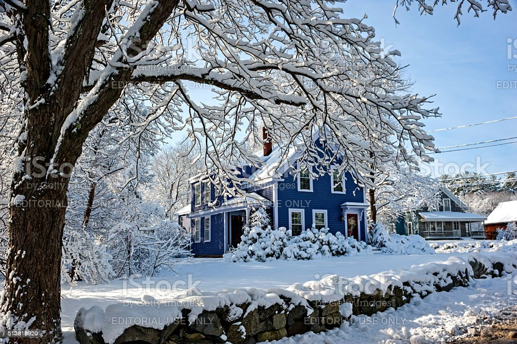 New England, after snow storm stock photo