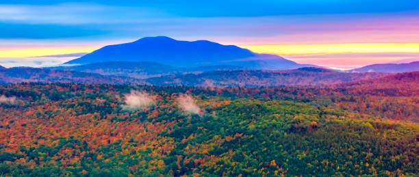 New England Autumn Foliage in the Green Mountains of Vermont stock photo