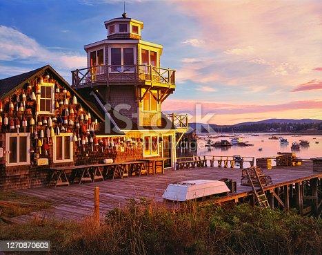 Lobsterman's dock and tack building Bass Harbor at Bernard, Maine