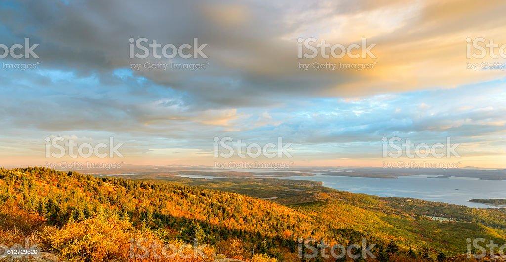 New England Coastline in Autumn Panorama stock photo