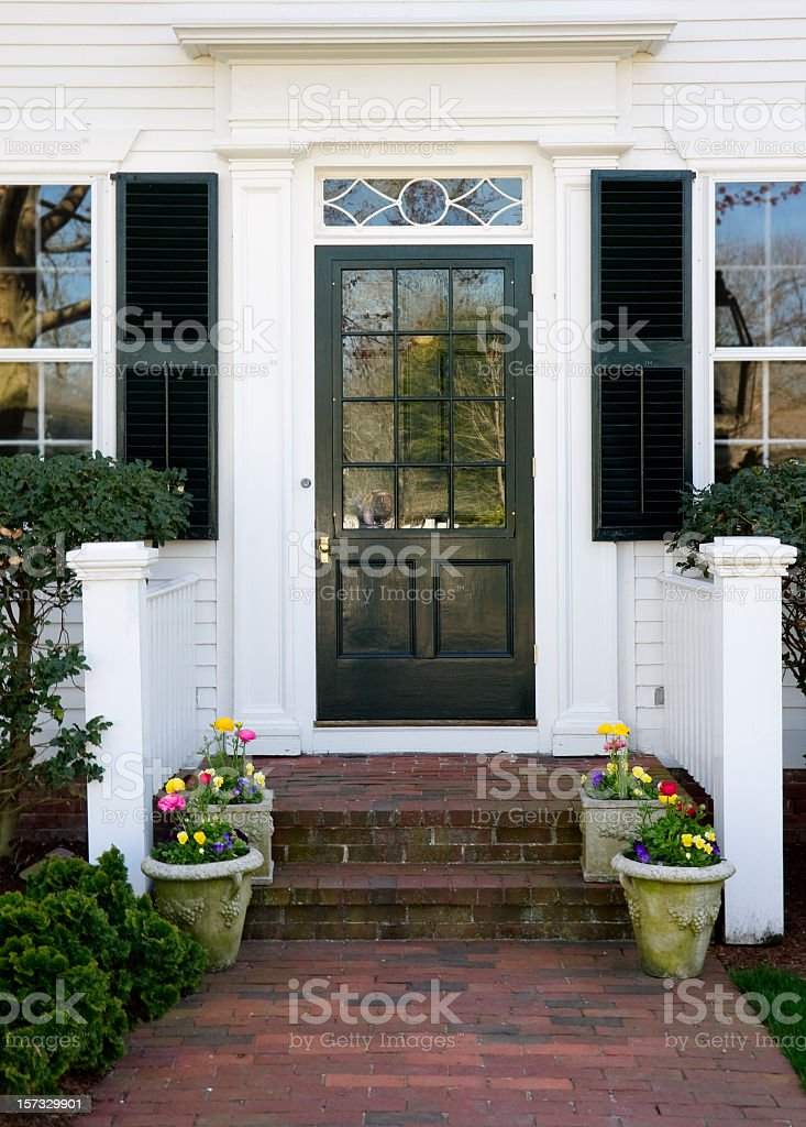A doorway on Marthas Vineyard in Massachusetts, decorated for spring.