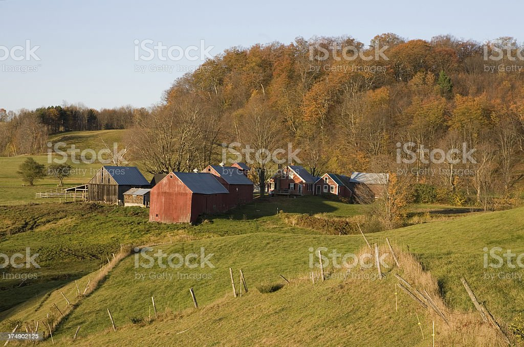 New England Farm at Sunrise royalty-free stock photo