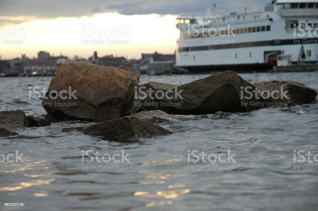 New England harbor scene stock photo