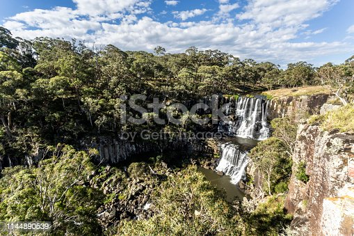 Scenic view of the upper fall at the Ebor Falls in Guy Fawkes River, northern NSW, Australia