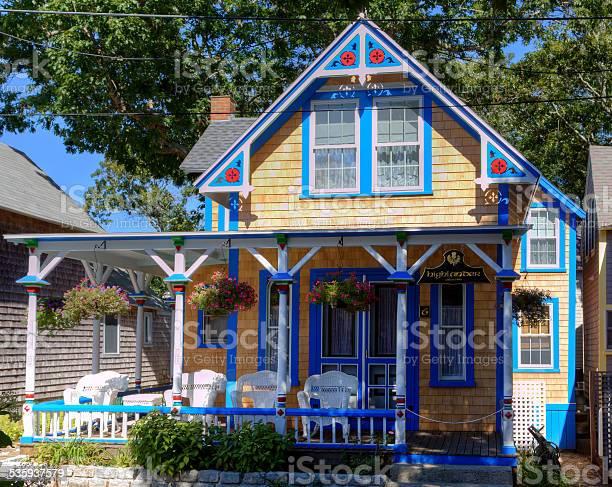 New England House In Oak Bluffs Marthas Vineyard Massachusetts Stock Photo - Download Image Now