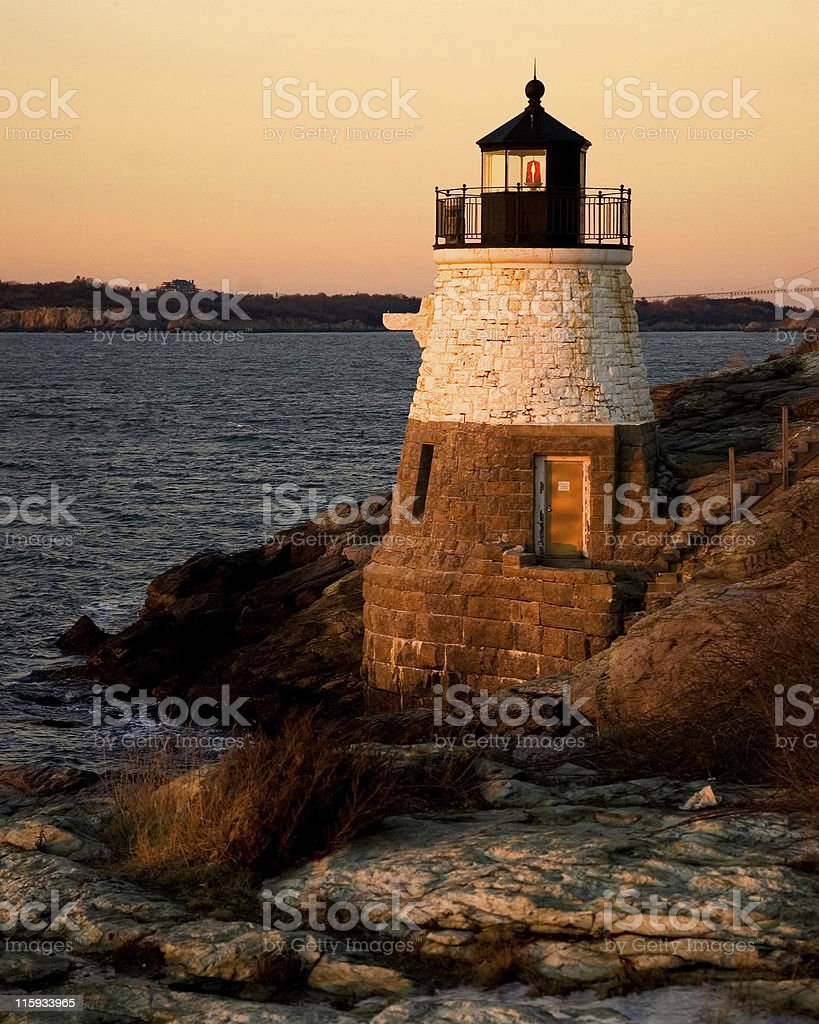 New England Lighthouse at Sunset royalty-free stock photo