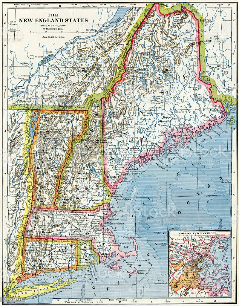 Royalty Free New England Map Pictures Images And Stock Photos Istock