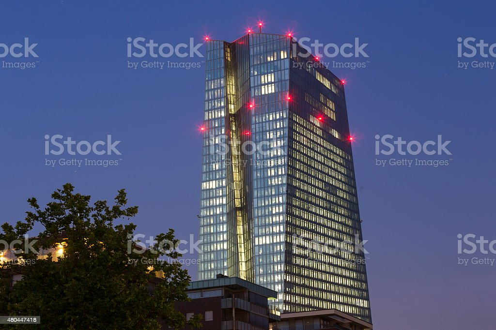 new european central bank in frankfurt germany at night stock photo