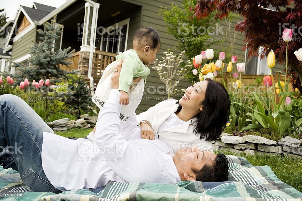 New Family at Home in Garden royalty-free stock photo