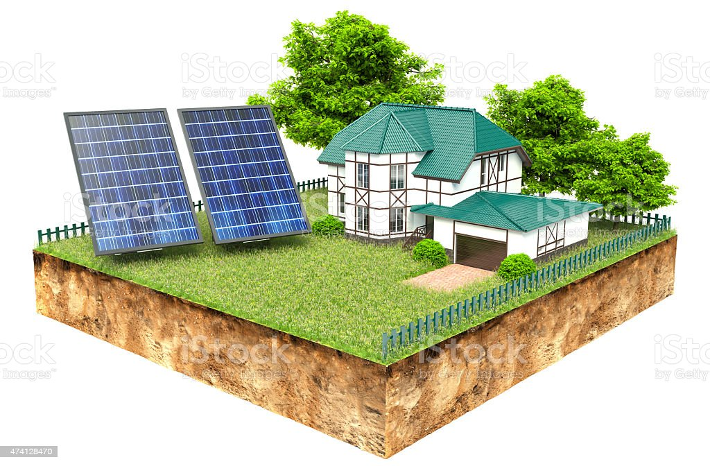 New family homes with solar panels stock photo