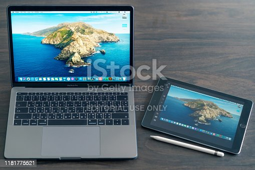 1202959798istockphoto New features Sidecar on macOS in Macbook pro and iPadOS on iPad2018. Sidecar have Extended desktop, Mirrored desktop features for sharing and presentation. 1181775521