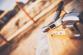 istock New fence construction series. Framework for picket placement. DIY 473678112