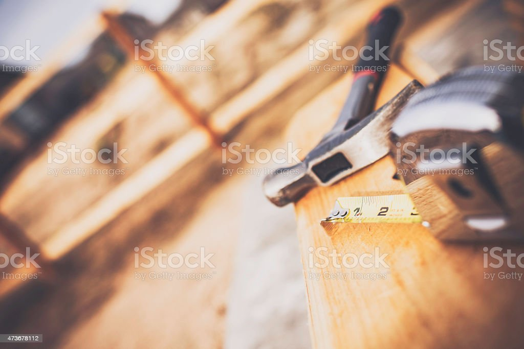 New fence construction series. Framework for picket placement. DIY stock photo