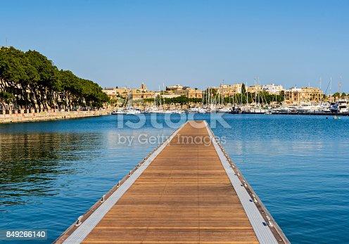 Pieta - September 16: New floating pier in the gulf of Pieta in Malta, September 16, 2017, Malta