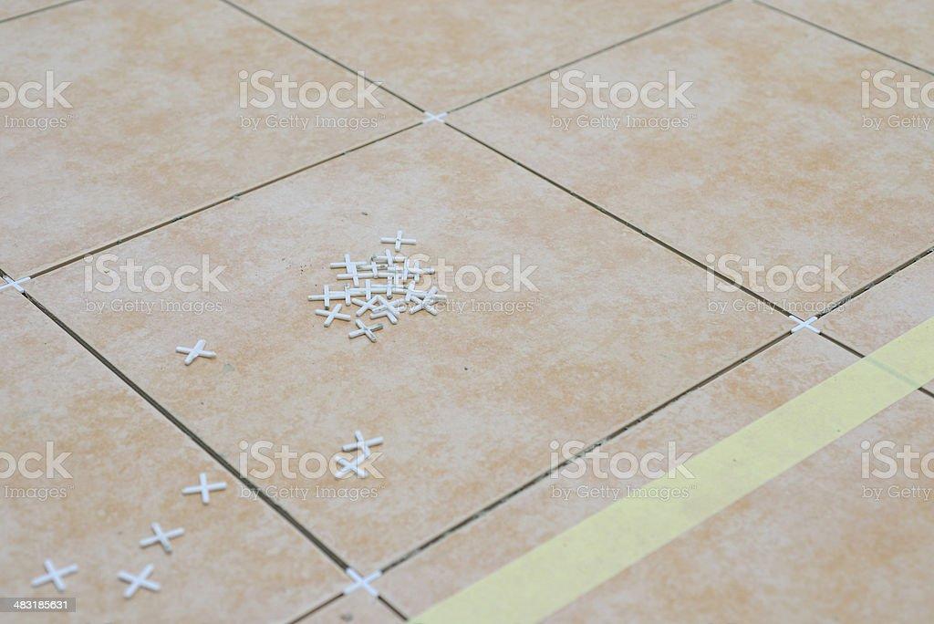 New floor in bathroom stock photo