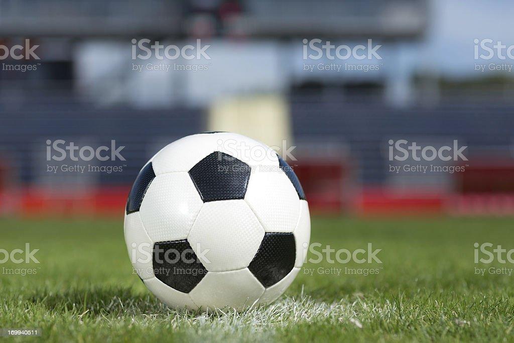 new football on soccer field close royalty-free stock photo