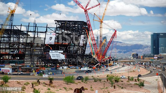 Las Vegas, United States - May 12 2019: New football stadium under construction in Las Vegas Nevada  USA.It will be completed in 2020 and will be home stadium to Raiders.