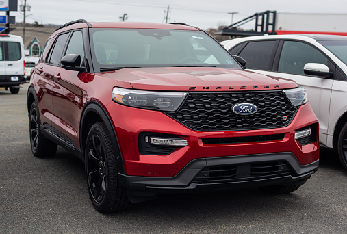 Dartmouth, Canada - January 10, 2021 - New model Ford Explorer suv at a dealership.