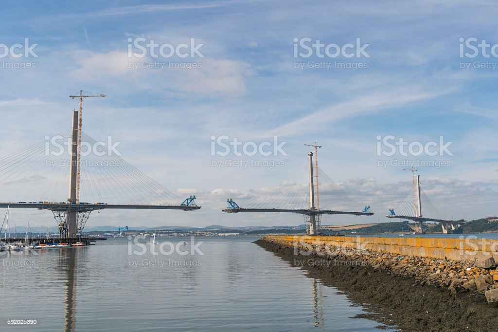 New Forth crossing over the Firth of Forth stock photo