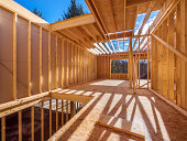 New framing house construction with no roof and two by fours exposed