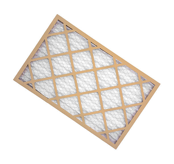 New furnace filter on white background. stock photo