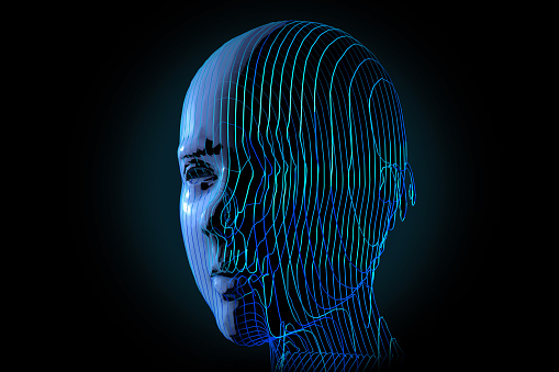 Combination of human and artificial intelligence. In the new digital age, people will also change and become digital. There will even be an artificial human generation.