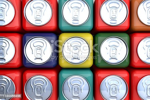 Innovative marketing idea: 3D cubic packaged color cans ranked on market shelves. New efficient packaging and stacking technology idea.