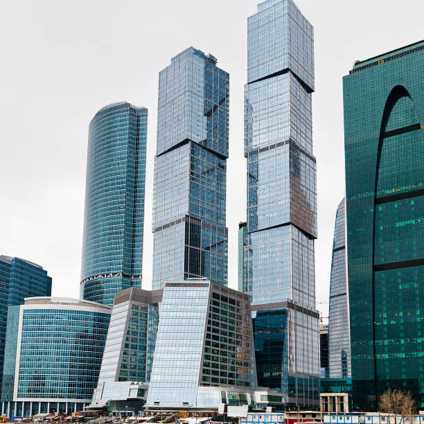 new glass towers of Moscow city stock photo